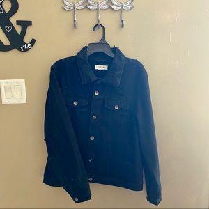 Distressed Black Denim Jacket XL
